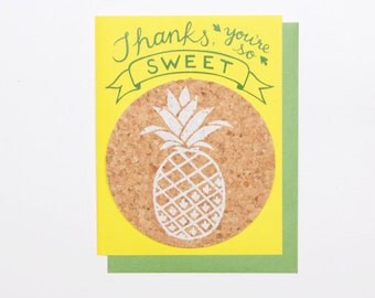 Pineapple Thank You - coaster card