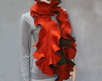 Rusty and green Handmade felted scarf Long Ruffle Jabot Neck warmer double-sided Rusty green orange  Ready to ship