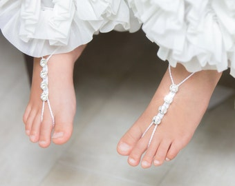 Girls Barefoot Sandals- Foot Jewelry- Beach Wedding- Footless Sandals- Barefoot Wedding Sandals- Flower Girl Gift- Baby barefoot Sandle- MCC