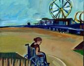 Original Painting, Woman in Wheelchair and Roller Coaster in Wildwood NJ, Art, New Jersey Boardwalk Acrylic
