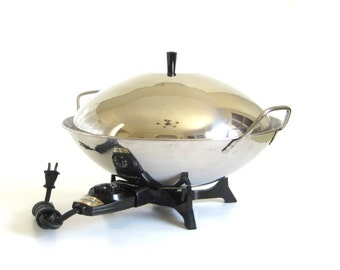 Farberware Electric Wok 303 Stainless Steel 1960s Kitchen Small Appliances
