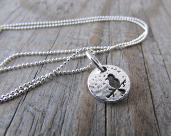 Bird Necklace tiny silver pewter little bird pendant