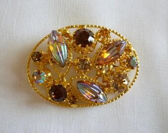 Multi Color Brooch Made in Austria, Austrian Crystal Pin Brooch