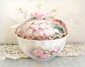 Vintage Cup Pincushion / Regency English Bone China Open Sugar Bowl, Handmade Pin Cushion Handcrafted CharlotteStyle Needlecraft
