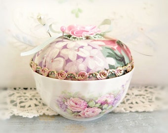Vintage Cup Pincushion / Regency English Bone China Open Sugar Bowl, Handmade Pin Cushion Handcrafted CharlotteStyle Needlecraft