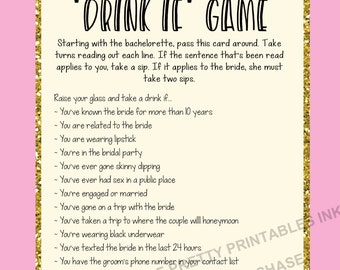 Printable bachelorette game/ bachelorette drinking game / bachelorette party game /  drink if game / take a sip game / hen party game