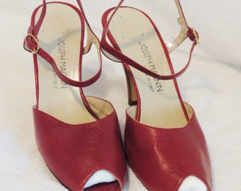 Vintage RED Leather Peep Toes and Ankle Strap, Size 7