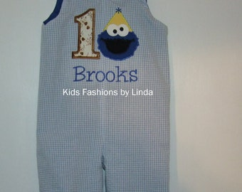 Light Blue Gingham Seersucker/Royal Blue Personalized Birthday Longall with Number/Cookie