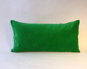 Decorative Bolster Pillow Cover- Kelly Green Medium Weight Cotton Velvet-  10x20 to 12x24  Invisible Zipper Closure- Knife Or Piping Edge-