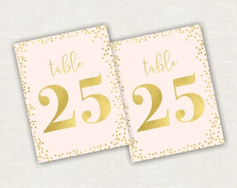 Wedding Table Numbers Foil Dottie Design - Gold Foil - Silver Foil - Party Table Numbers - Gold Table Numbers - Gold Wedding Decorations