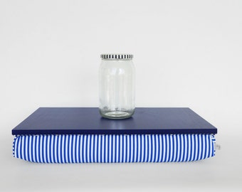 Laptop stand or wooden Breakfast in Bed serving Tray - midnight blue with blue and white striped Pillow