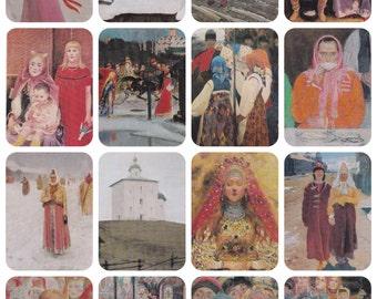 A. Riabushkin / Ryabushkin. Complete Set of 16 Vintage Prints -- 1974