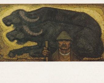 """Istvan Mezhi-Szabo """"Herdsman"""" Print, Postcard -- 1980s"""
