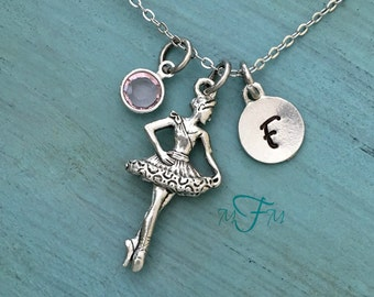 Ballerina Charm Necklace, Personalized Necklace, Silver Pewter Ballerina Charm, Custom Necklace, Swarovski Crystal birthstone