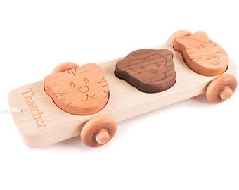 animal puzzle pull toy - an educational wooden toy for toddler or preschooler, personalized kids toy, rolling wood car, all natural finish
