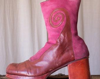 platform leather shoes - 12 men