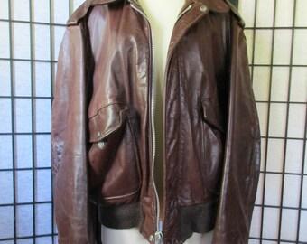 Vintage Schott Bros. Leather Jacket Brown Cafe Racer 46 48 Flight Bomber