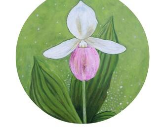 LADYSLIPPER FLOWER ART / Botanist Gift / Botany Ladyslipper Woodland Plant