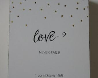 Love Never Fails Art Block WORD Art Shelf Art Tabletop Decor Christian Home Decor I Corinthians 13