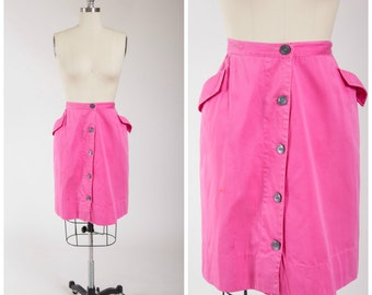 1960s Vintage Skirt • Sugar Sugar • Bright Pink Cotton 60s Button Front Skirt Pockets Size Small