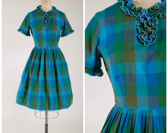 Vintage 1960s Dress • This Time • Blue Green Cotton Plaid 60s Day Dress with Full Skirt Size Medium
