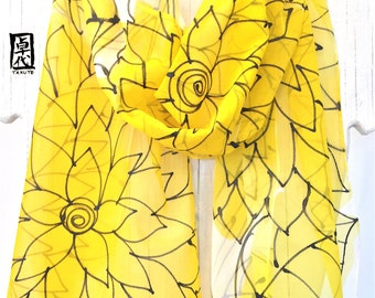 Floral Summer Scarf, Tropical Print Scarf, Womens Scarf, Chiffon Scarf, Sunshine Yellow Floral Scarf, Takuyo, 11x60 inches, Made to order