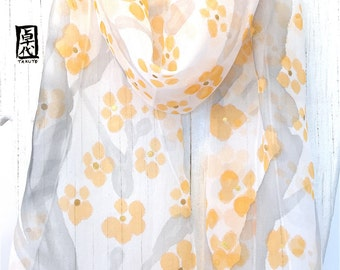 Hand painted silk scarf, Floral Scarf Silk, White Scarf, Silk Scarves Takuyo, Orange, Gray and Gold  Plum Blossoms Scarf, 8x54 inches
