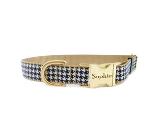 Personalized Dog Collar in Houndstooth Print and Gold