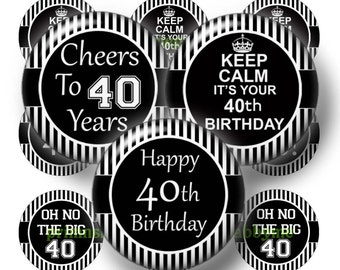 40th Birthday, Printable, Digital Collage Sheet, Bottle Cap Images, 1 Inch Circle, Instant Download, Black, White, Cupcake Toppers BS-1