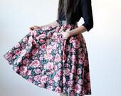 Vintage 80s Black Rose Floral Dress with Belt and Pockets - R5-138