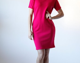 Vintage 80s Dana Buchman Hot Pink Sweater Dress Size Medium Made in USA - Red 3 #143