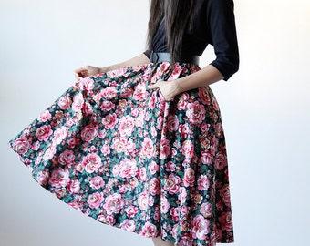 Vintage 80s Black Rose Floral Dress with Belt and Pockets - Red 5 #138