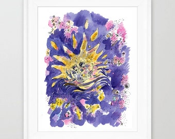 Children Illustration Print. Kids art prints. Nursery prints. Kids wall art. Childrens art prints. Twins gifts. Childrens wall art