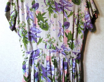 Maxi Dress long floral print beige purple olive coral short sleeves fitted waist garden party vintage 80s womens small 6 Kenar Ann Tjian