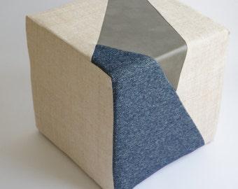 Cream Pouf/Floor Pouf/Ottoman/Prism/Navy Blue/Gray Leather/Urban/Eclectic/Modern/Floor Pouf/Unique/Nursery Pouf/ Zigzag Studio Design