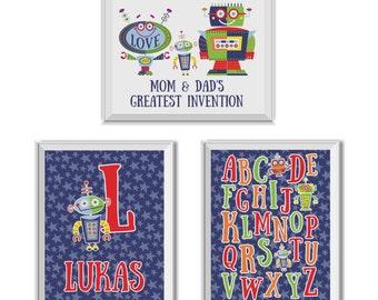 Robot Nursery Art, Mom & Dad's Greatest Invention, Baby Name, Monogram, Alphabet, Robots, Stars, Blue, Navy Blue, Robot Nursery, Baby Boy