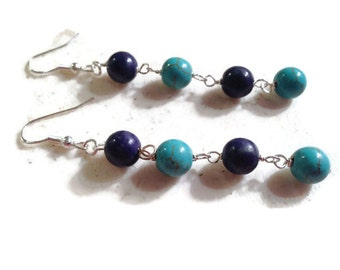 Turquoise Earrings - Turquoise Navy Blue Jewelry - Sterling Silver Jewellery - Dangle - Mod - Fashion - Gemstone