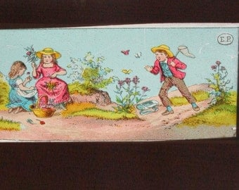 Summertime, Antique German Magic Lantern glass slide, Antique animation
