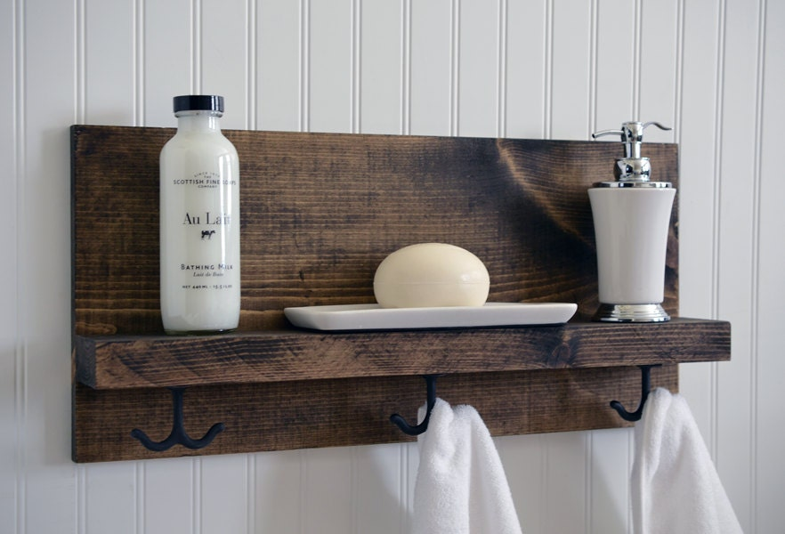 bathroom shelf with metal hooks towel bar modern rustic