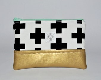 Swiss Cross Clutch - Gold Leather Clutch Purse - Black White and Gold Zip Pouch - Mini Clutch Accessory Pouch