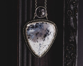 Dendritic Agate Necklace-Sterling Silver Dendritic Agate Pendant-Moon Sterling Silver Necklace-Woodland Inspired Jewellery-Statement Pendant