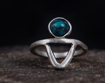 Sterling Silver Turquoise Ring-Bohemian Turquoise Ring-Turquoise Midi Rings-Bohemian Jewellery-SALE