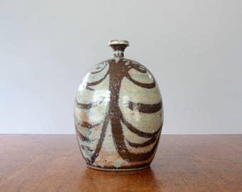 Vintage Signed Ceramic Studio Pottery Bud Vase / Week Pot Hand Decorated