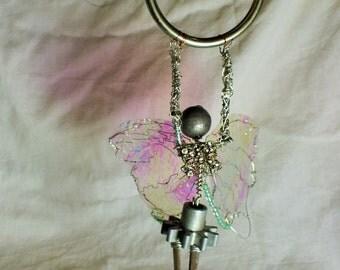 Angel of Love, Hoop Love Fairy sculpture, hanging wire art, window garden