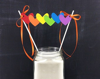 Rainbows Hearts Cake Topper: Smash Cake Topper, Rainbow Birthday, Heart Topper, Birthday Cake Topper, Heart Cake Pick, Rainbow Cake Bunting