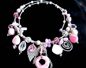 Pink Charm Necklace Pretty Beaded Retro