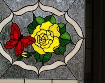 """CUSTOM - Butterfly & Flower Stained Glass Panel - 25"""" X 21"""""""