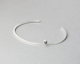 Silver Moonstone or Hematite Station Bracelet   Sequence Collection