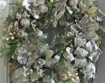 Elegant Winter Wreath After Christmas Decoration New Year Silver Grey Magnolias Beaded Fruit Front Door Decor Grapevine Luxe Floral Design