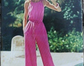 Butterick See & Sew 5818 1970s 70s Wide Legged Jumpsuit Vintage Sewing Pattern Size 8-10 Bust 31.5-32.5